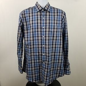 Peter Millar Brown Black Plaid Check Dress Shirt L